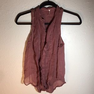 Free People Sleeveless Blouse Ruffled