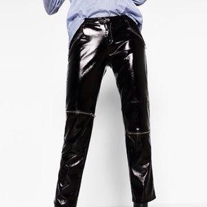 Black patent leather moto pants