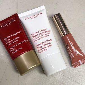 Clarins lip perfector eclat day cream body lotion