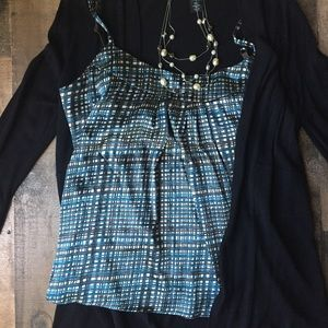 NY&C Striped Blue and Brown Silky Strappy Blouse M