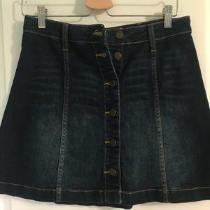 Button Up Mini Denim Skirt