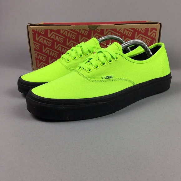 baf417629dedfd VANS AUTHENTIC BLACK OUTSOLE NEON GREEN BLACK