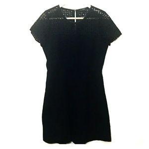 J. Crew Eyelet Lace Short Sleeve Black Dress