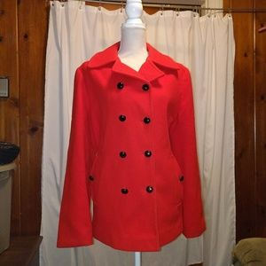 EUC Red wool peacoat
