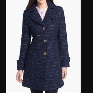 Kenneth Cole blue/gold tweed coat