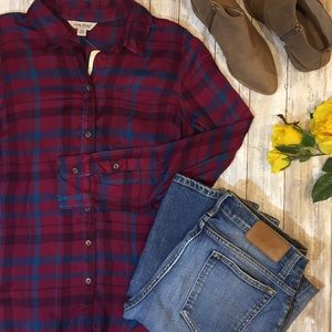 [Lucky] High-low plaid top