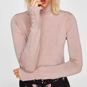 🆕ZARA turtleneck sweater with pearly cuffs, NWT