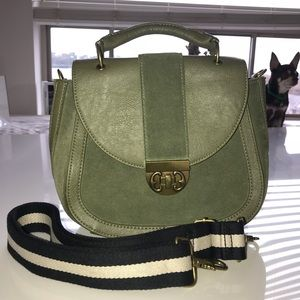 Olive Green Leather & Suede Tote/Crossbody/Bag