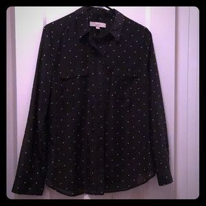 🆕 Black button down shirt with heart pattern