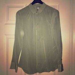 h&m moss green silk blouse w/ Peter Pan collar