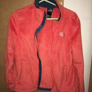 Fuzzy orange North Face fleece