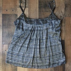 NY&C Striped Black and Gray Silky Strappy Blouse M