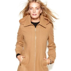Michael Kors Hooded Camel Coat