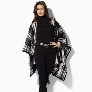 Lauren by Ralph Lauren Lambswool Tartan Cape