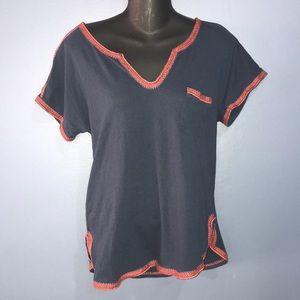 Madewell Navy Blue Red boho t shirt sz medium