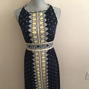 Maxi deep blue & yellow dress