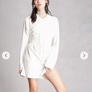 Long Sleeve Tunic Lace Up Corset Belt Hoodie Dress