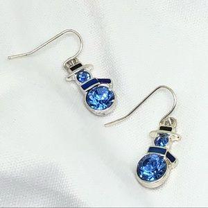 🆕Vintage Silver & Blue Snowman Earrings