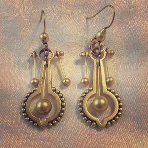 Gold Tone Pendulum Ball Earrings