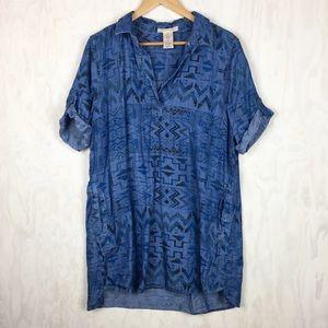 Philosophy Aztec chambray tunic dress XL