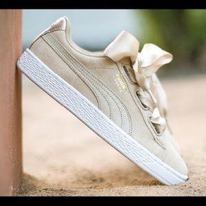 New Puma Basket Heart Metallic Safari Sneaker