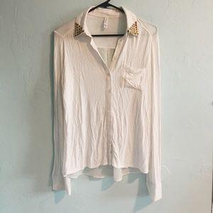 XHILARATION - Long Sleeve, Blouse Top - White