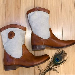 FRYE leather and canvas boots, 8 / 8.5.