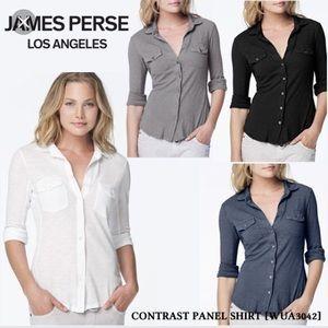 James Perse size 1 contrast panel shirt Tan