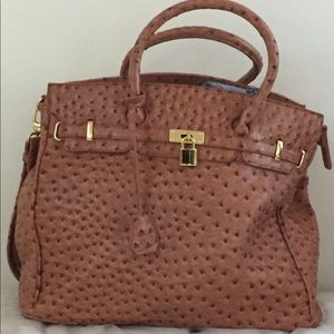 Camel Ostrich oversize purse