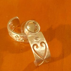 Brighton Earrings Heart Engraved & Faux Diamond
