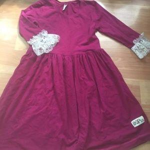 Kpea Kid Girl Berry Lace Sleeve Lap Dress
