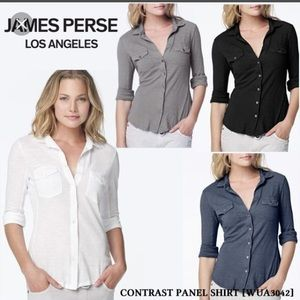 James Perse purple size 1 contrast panel shirt