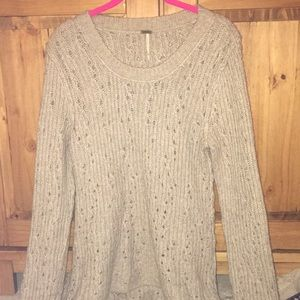 Free People Crewneck Sweater-Taupe-Size Large