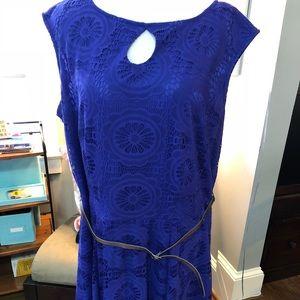 London Times Blue Knit dress. Sz 16W. GUC!