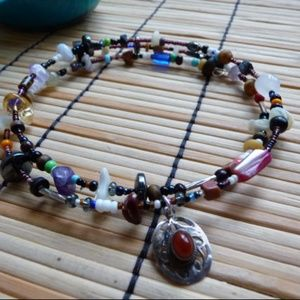 Jewelry - Boho Bead Choker Necklace, Handmade Necklace