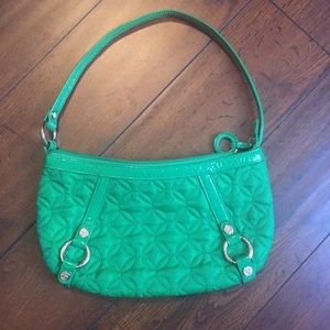 Vera Bradley Green Quilted Patent Leather Purse.