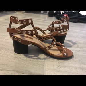 Brown patent leather sandals