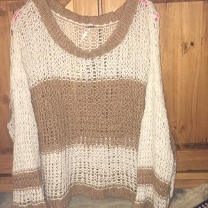Free People Boxy Loose Knit Pullover