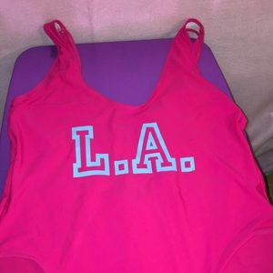 LA pink one pice swimsuit