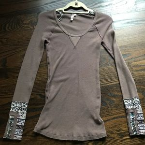NWOT Free People Waffle Long Sleeve Shirt