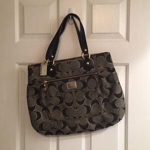 NWOT Black & gold Coach bag