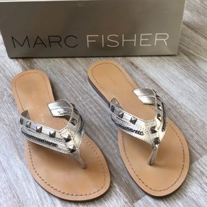 Marc Fisher silver studded sandals
