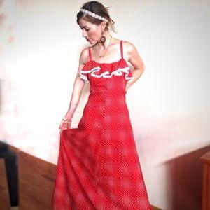 VTG❤️60s Flamenco Lace Trim White Dor Gown!