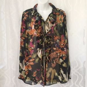 CAbi Floral Sheer Tie Up Blouse