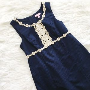Lilly Pulitzer Rosie Navy Gold Lace Shift Dress