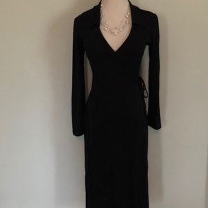 Forever 21 Black Polyester Long Wrap Dress Sz S