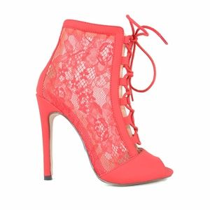 Red Women's Lace-Up Slim Heeled Ankle Bootie