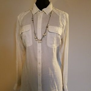 White Flirty Button Down