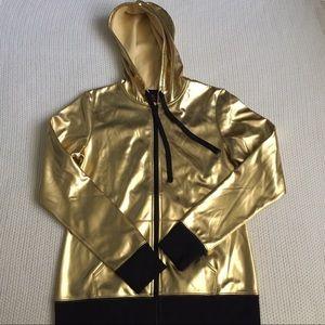 NWOT gold zip up hoodie