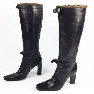 PRADA AUTHENTIC TALL REAL FUR AND LEATHER BOOTS